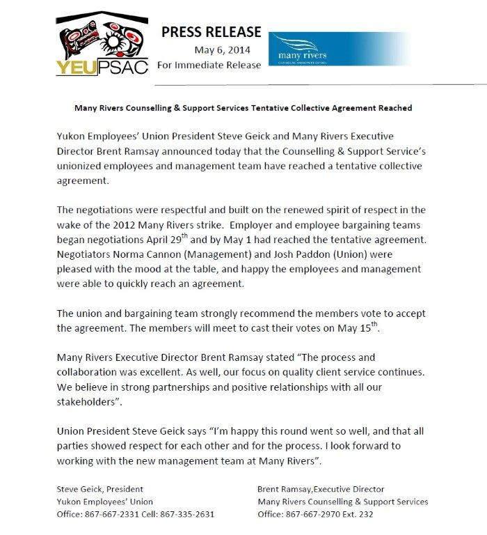 Many Rivers Press Release