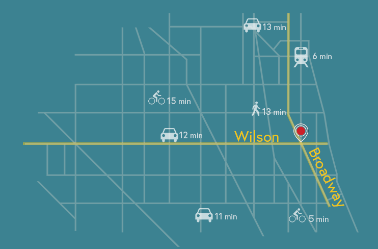 Map showing location of Geber building, and travels times from various locations by bike, train, and car