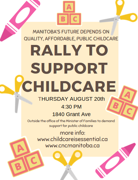 Poster that says Rally to Support Childcare