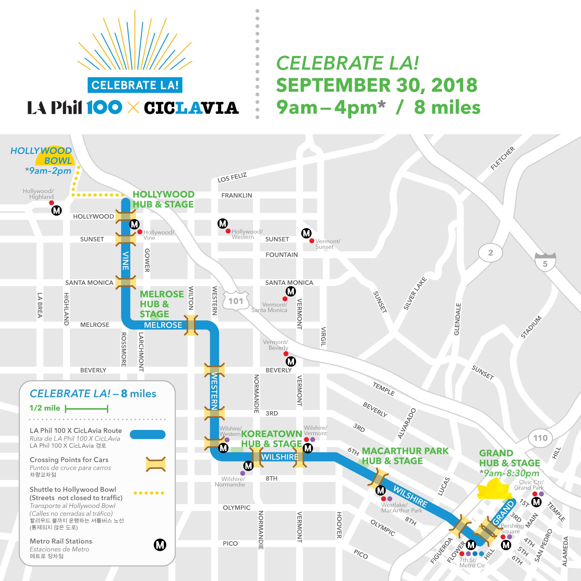 La Metro Map 2018.Celebrate La La Phil 100 X Ciclavia Ciclavia