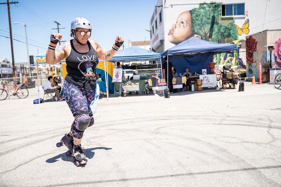 Skating and dancing at CicLAvia