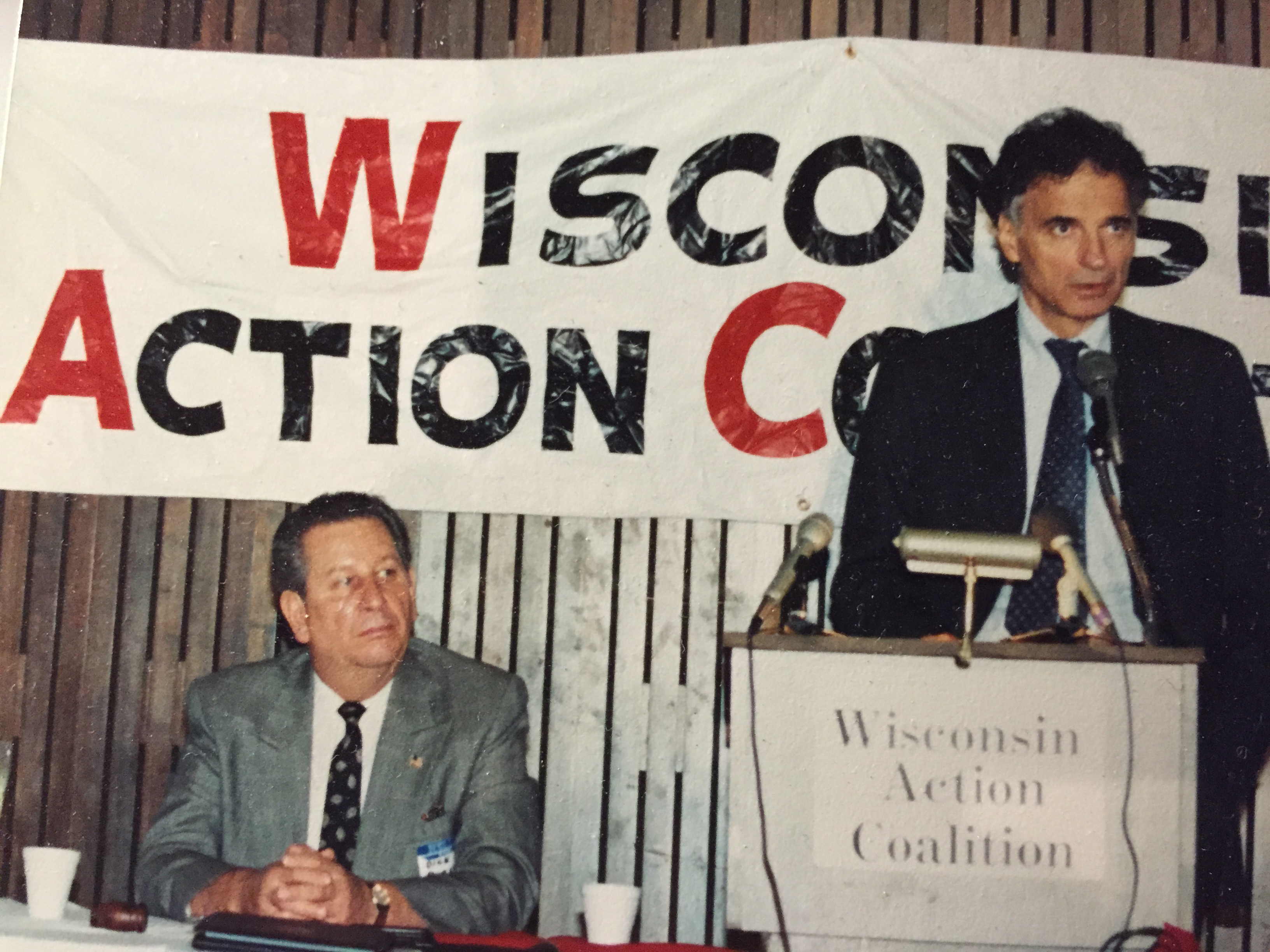 Dick Presser (left) is joined by Ralph Nadar at a Wisconsin Action Coalition meeting,