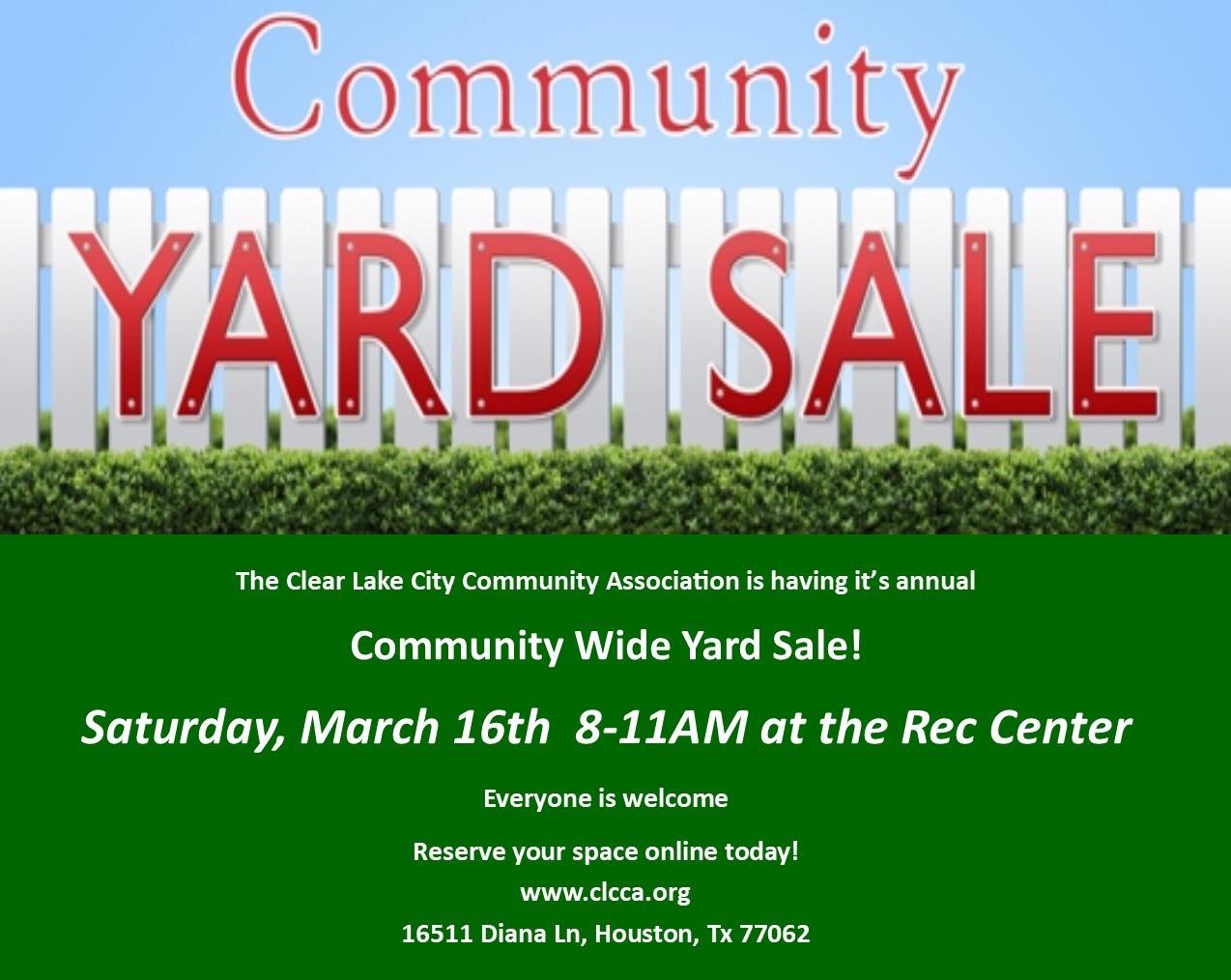 Community Wide Garage Sale - Clear Lake City Community Association