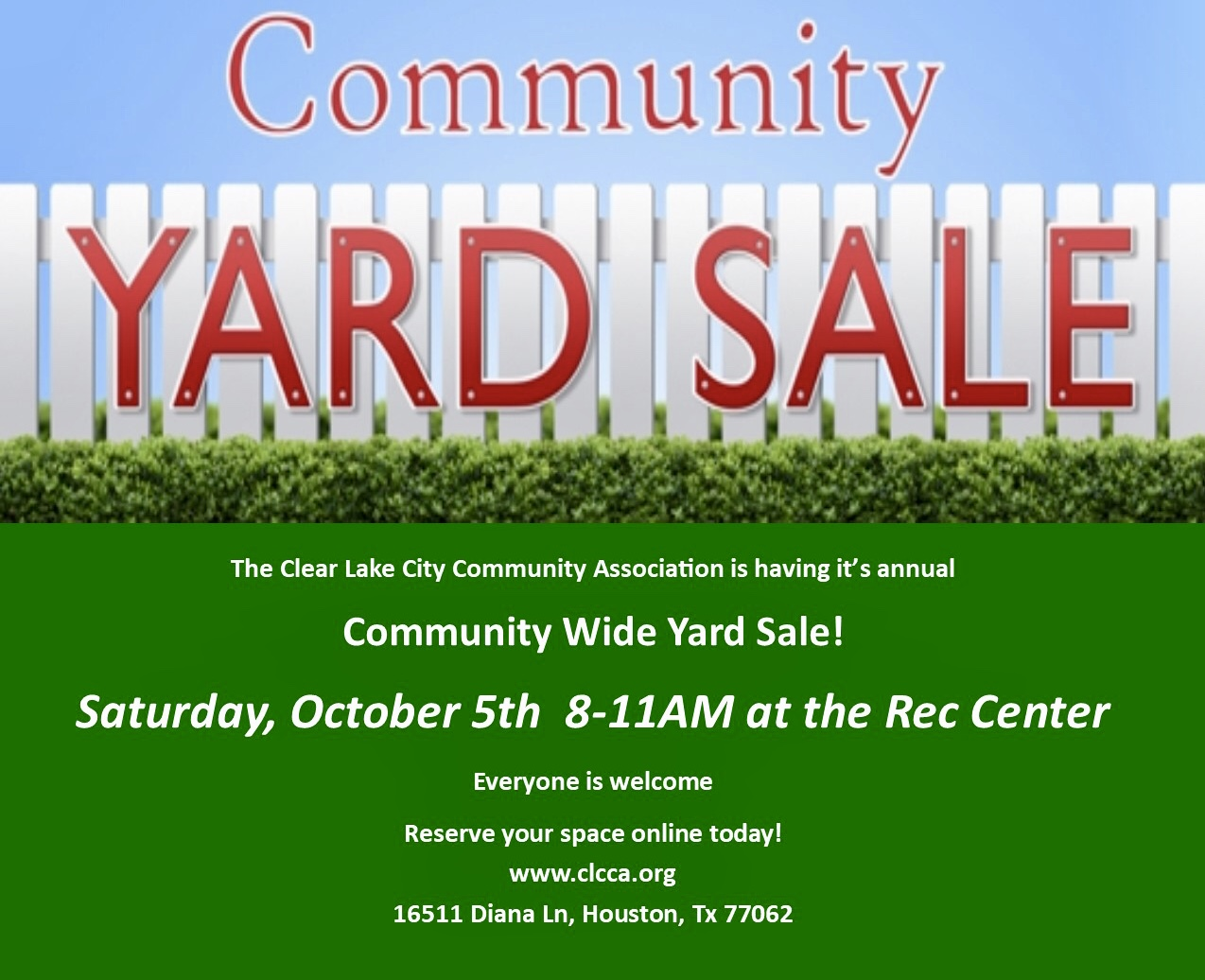 Community Wide Garage Sale Clear Lake City Community Association