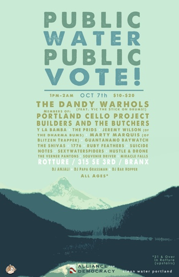 A concert poster for a fundraising event featuring the Dandy Warhols. There is a monochrome image of the Bull Run reservoir with Mt Hood in the background. Below are listed the bill and concert details.