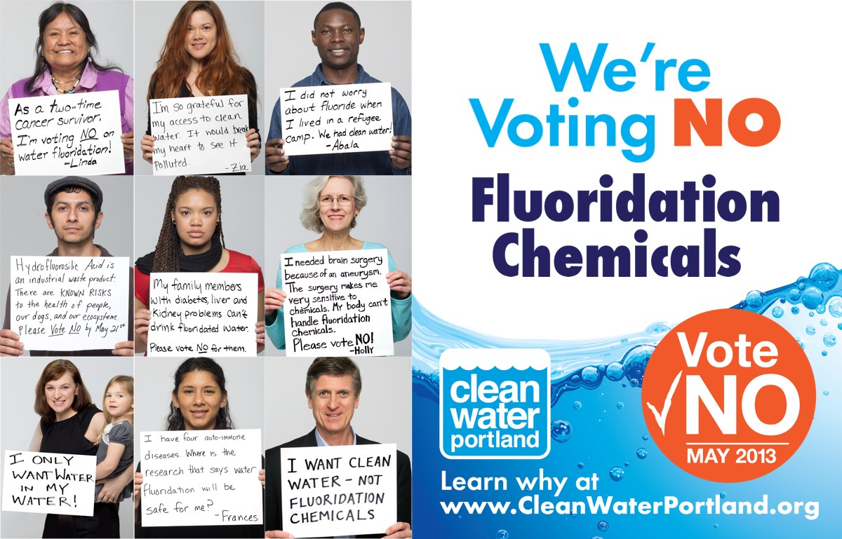 Poster of the 2013 campaign to stop fluoridation. It says we're voting no. Vote no May 20 13. To the right is a grid of images of a diverse set of people holding up a handwritten placard stating why they oppose fluoridation.