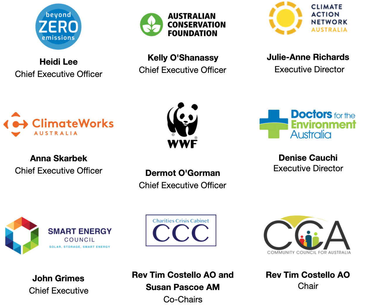 Logos of organisations signed onto CEO Letter