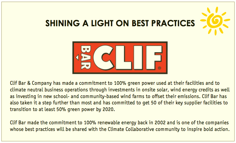 Clif Bar infographic on their renewable energy work