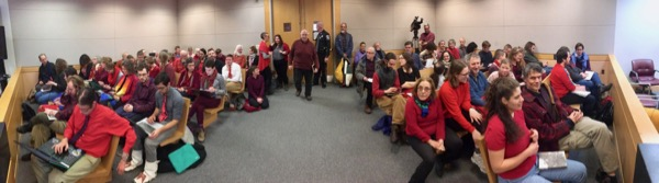 Defendants and supporters of the No Coal No Gas campaign fill the court room in Concord, New Hampshire