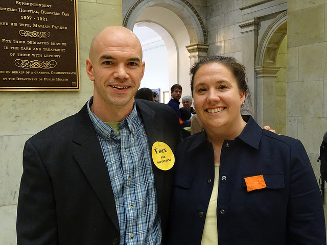 Tim DeChristopher and Marla Marcum at MA State House