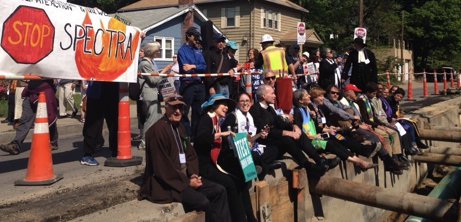 Clergy Blocking Frack Gas Pipe Construction