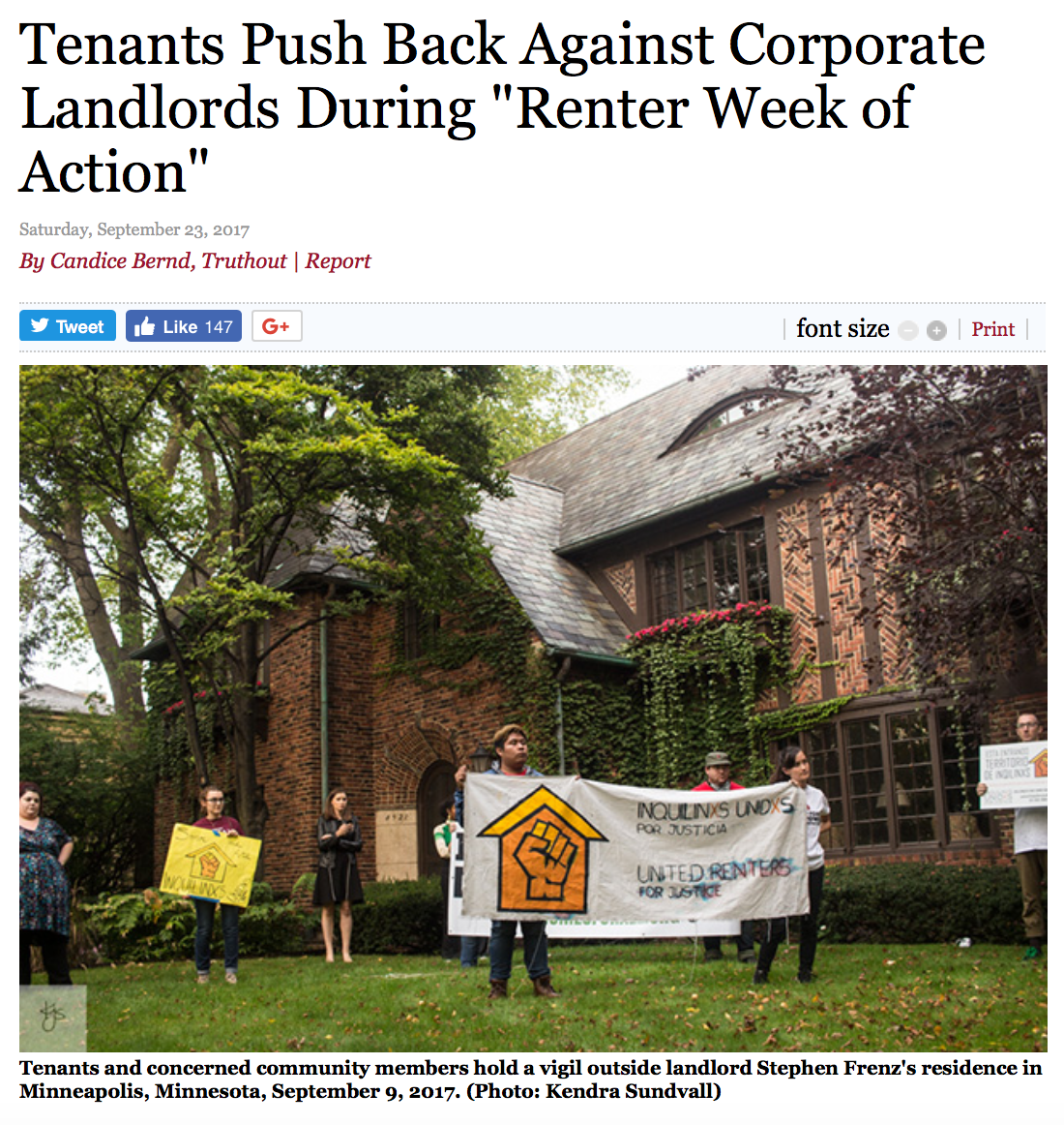 Truthout article on Renter Week of Action
