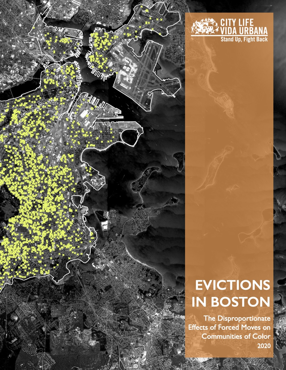 Cover image of Evictions in Boston report depicting a satellite image of Boston with small bright \