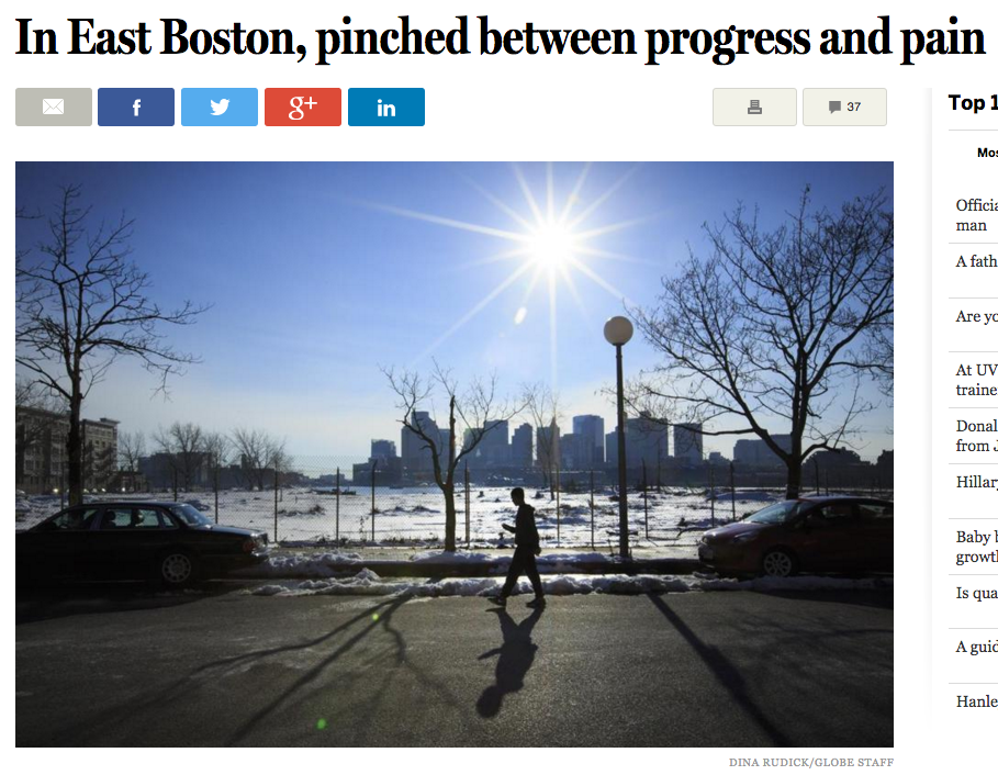 Boston Globe Article on East Boston Progress and Pain