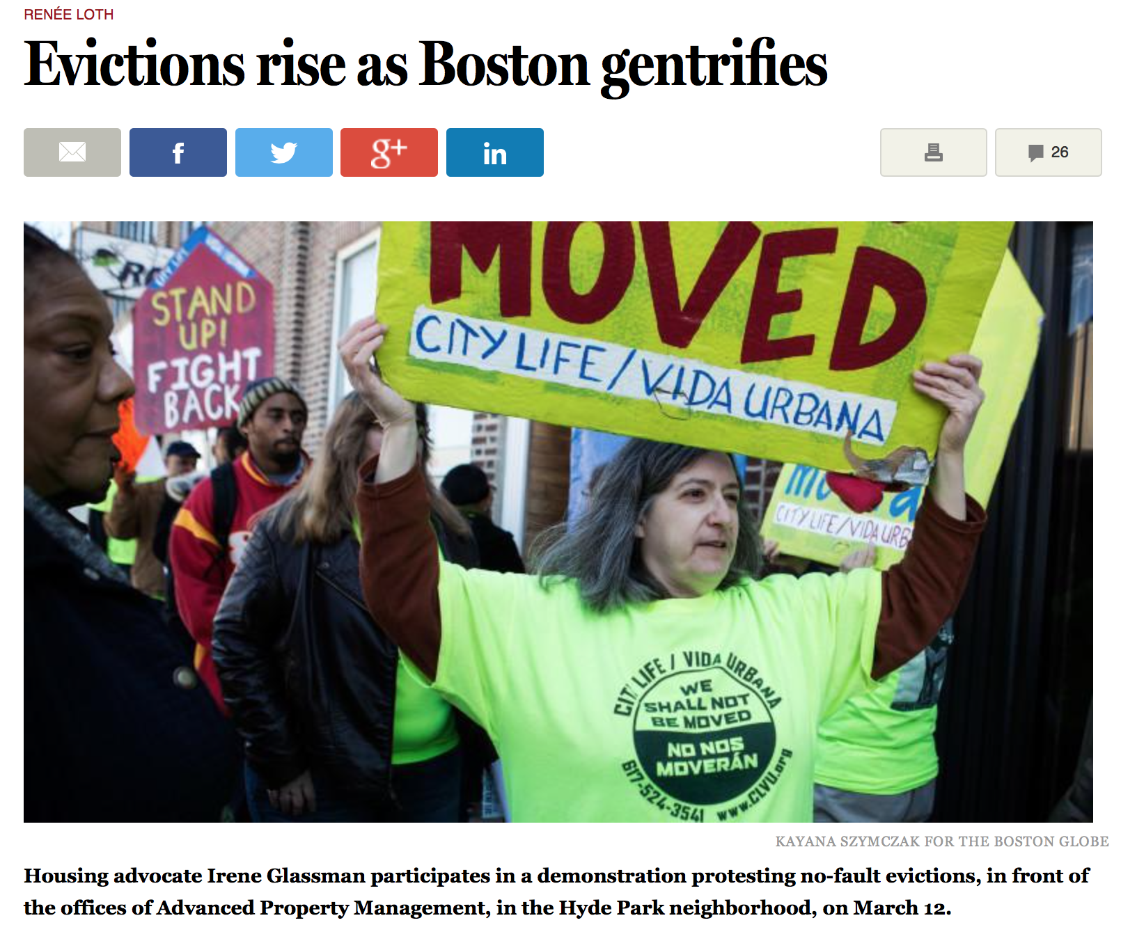 Globe Column: Evictions Rise as Boston Gentrifies