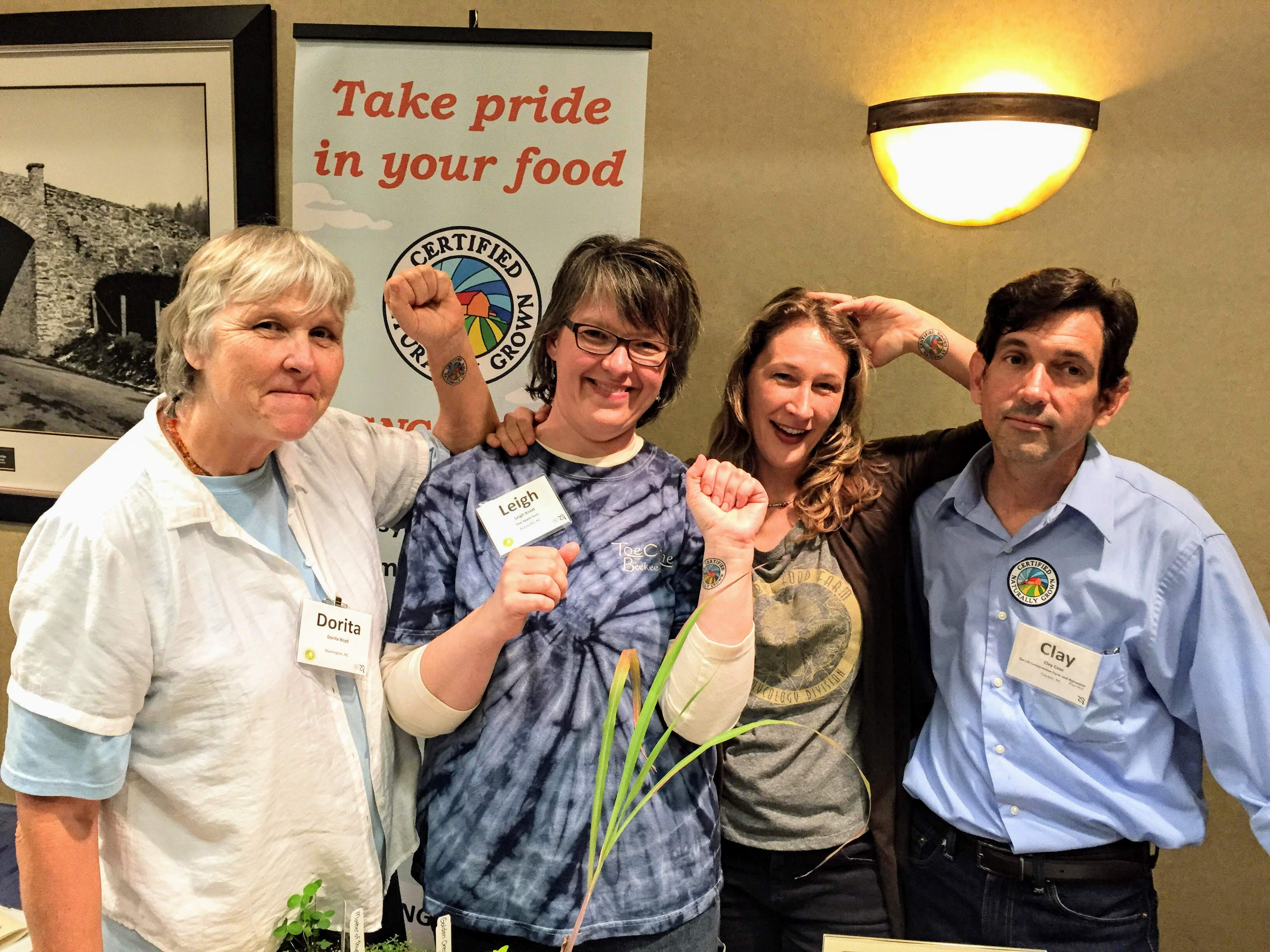 Farmers from Raindrop Ridge, Five Apple Farm Honey, and Spruill Farm Conservation Project with CNG's Alice Varon at Carolina Farm Stewardship Association's 2015 Sustainable Agriculture Conference