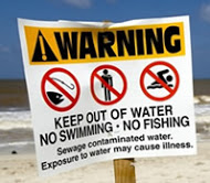 signs that are put up when there is a sewage spill.. Gross!
