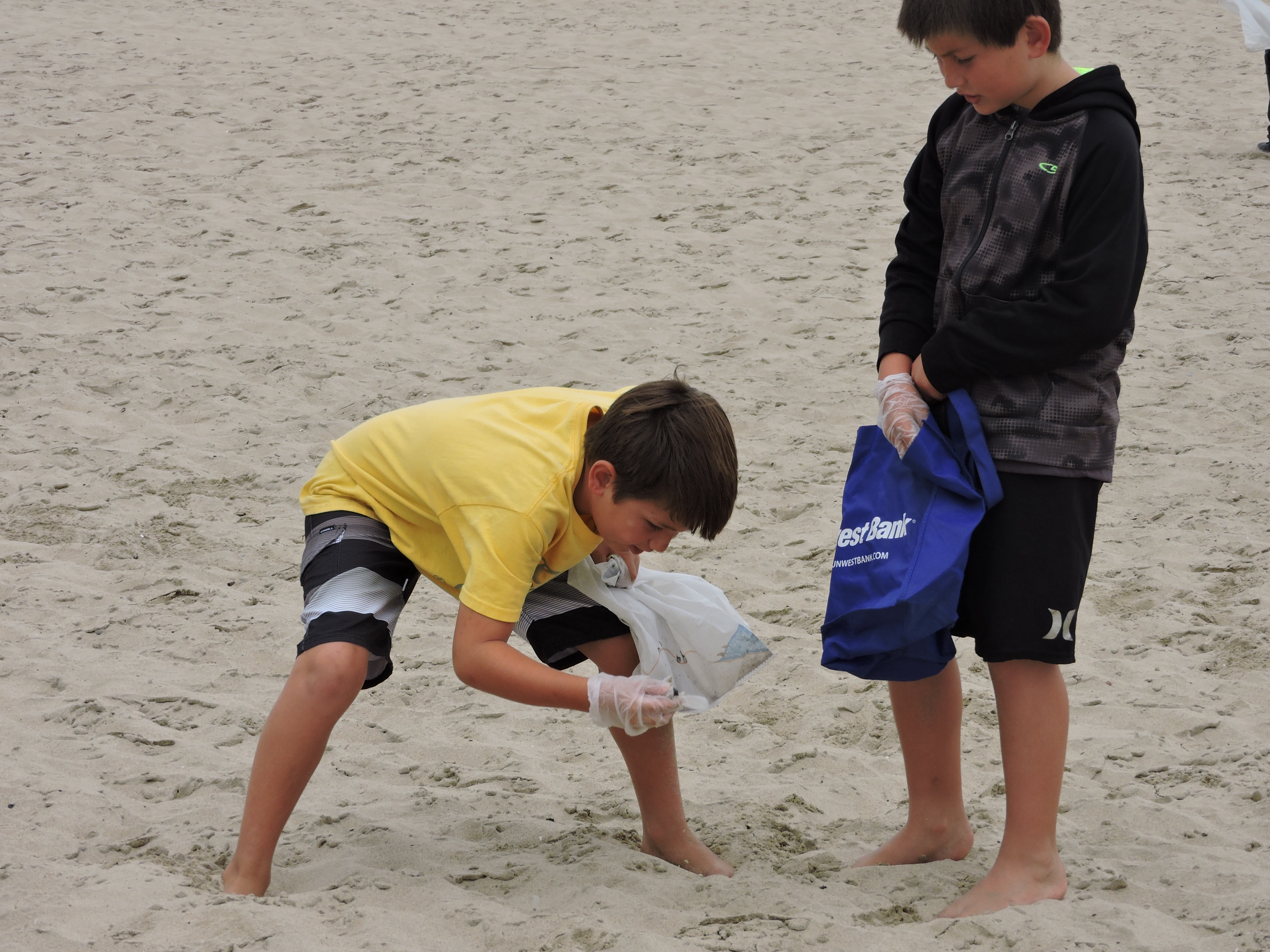 Kids picking up trash