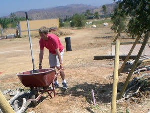 Eagle Scout works on fence at Garden Entry