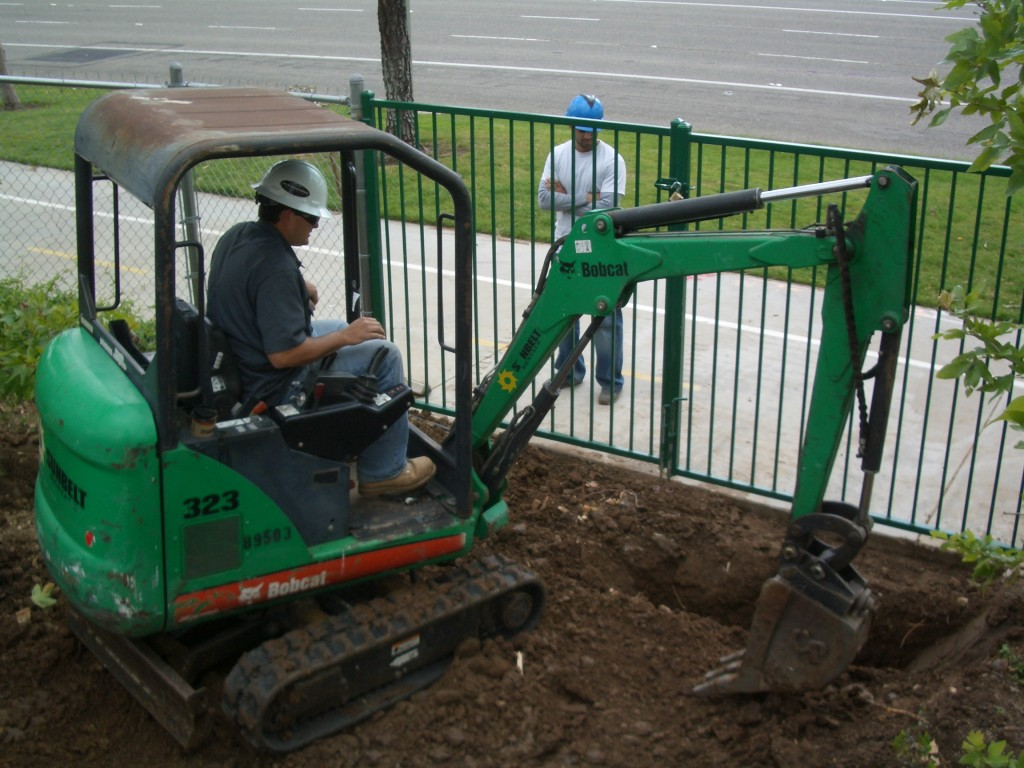 Digging a storm drain donated by Contech