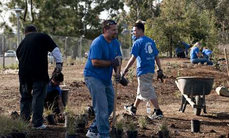Sam's Club employees planting in the chaparral habitat