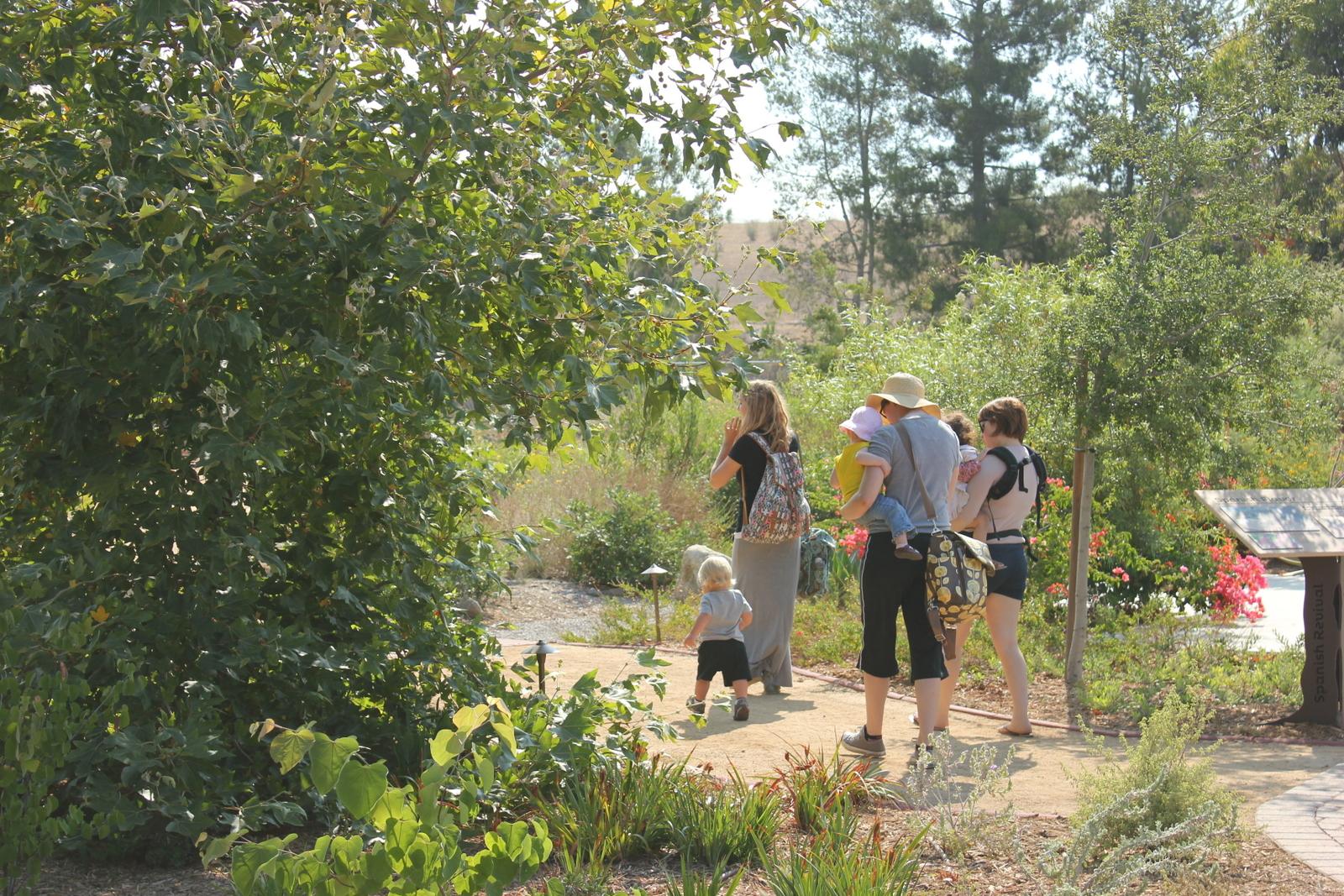 Visitors head into the garden.