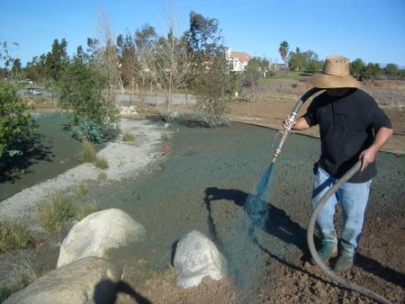 Hydroseeding the grassland