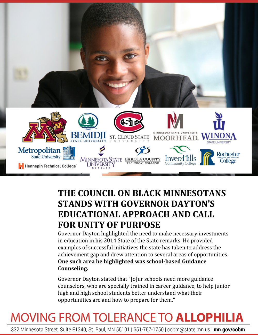 The Council on Black Minnesotans Stands with Governor Dayton's Approach & Call for Unity of Purpose