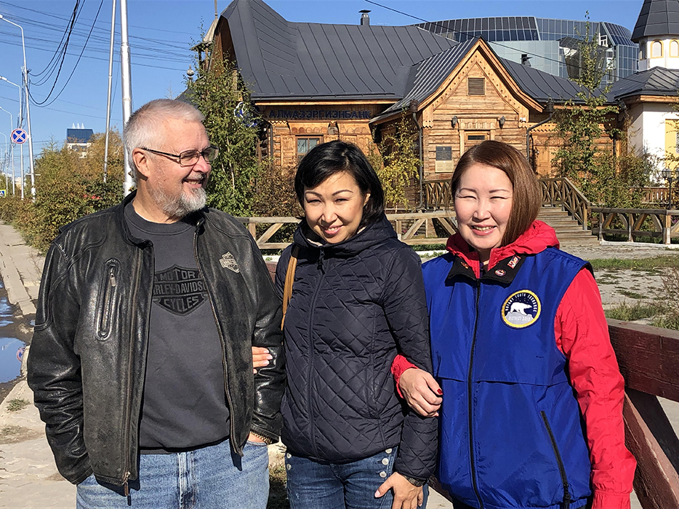 Rotarian hosts in Yakutsk.  Pete, Katya and Maria (Club President). Photo by Ann Wright
