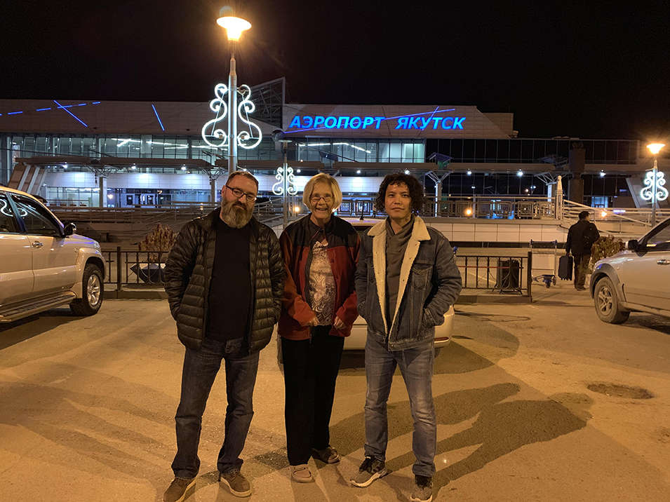 Rotarian hosts in Yakutsk. Alexi and Yvegeny with Ann Photo by Ann Wright