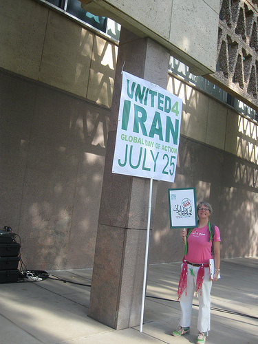 Liz Hourican, of Phoenix CODEPINK, at the Phoenix rally on Global Unity Day Stand with Iran, July 25