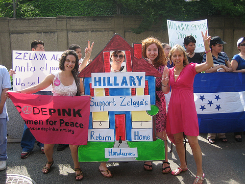 CODEPINK women at a July 28 rally organized by Hondurans for Democracy outside the State Department, in response to Sec. of State Clintons statement that Honduran ousted President Zelayas return was reckless.