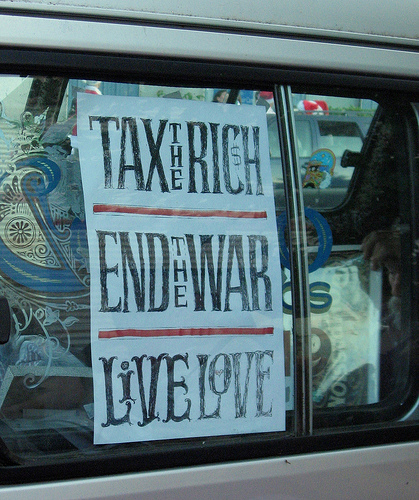 Tax the Rich.  End the War.  Live Love. by Lisa Norwood.