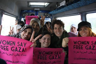 Women in a van at the Gaza Freedom March