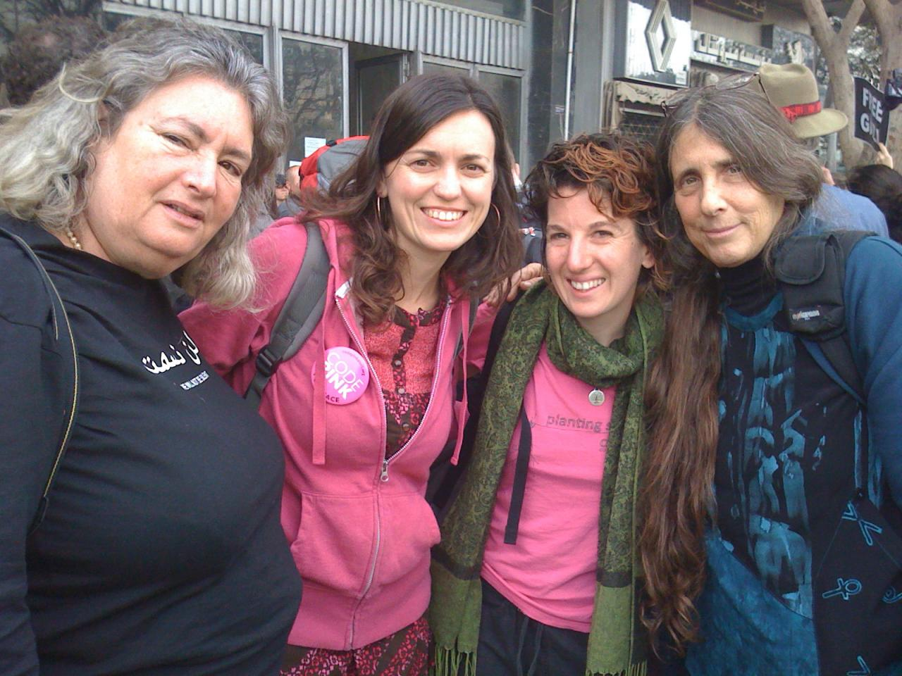 Starhawk, Rae, Ariel, and Rabbi Lynn at the Cairo bus station