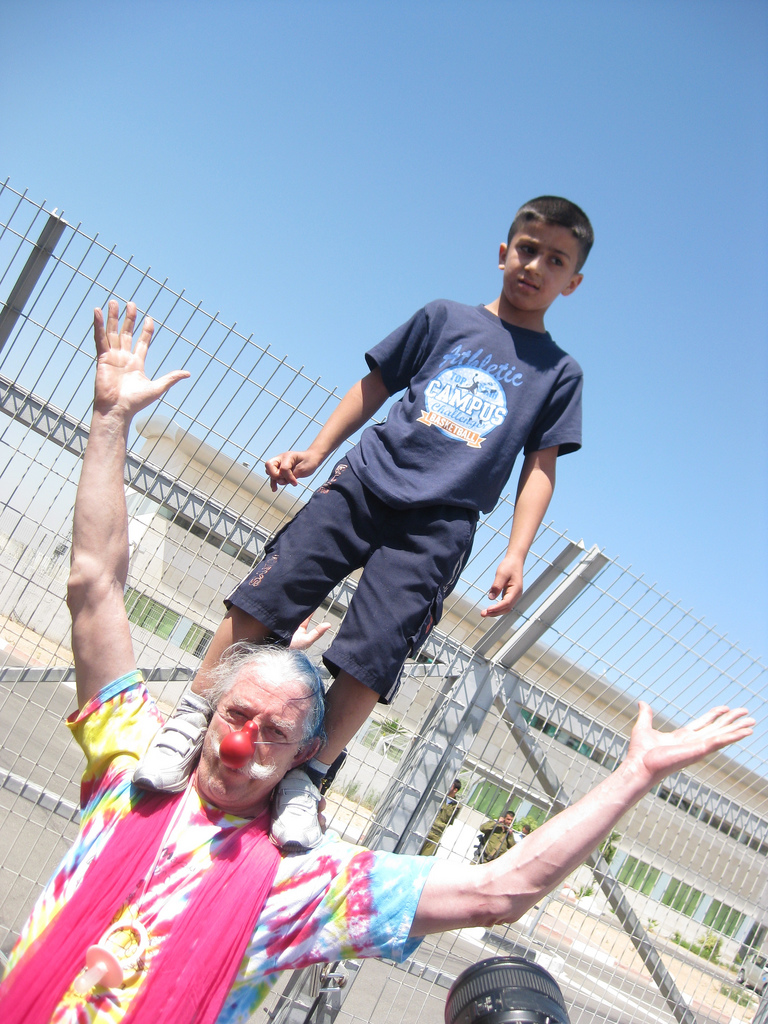 Dr. Patch Adams and a friend trying to get into Gaza with CODEPINK at the Erez border in Israel, Summer 2009