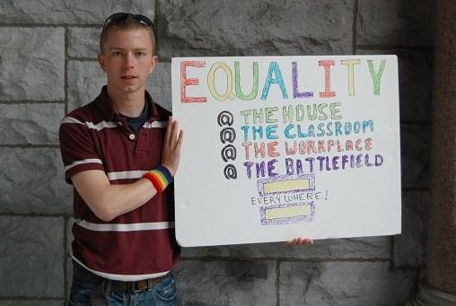 Bradley Manning with Equality Sign