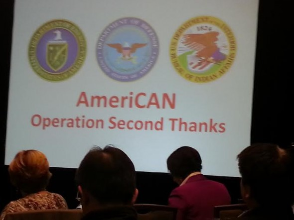 Slide showing the join project of Department of Energy, Department of Defense and Bureau of Indian Affairs, the AmeriCAN clean energy plan: Operation Second Thanks