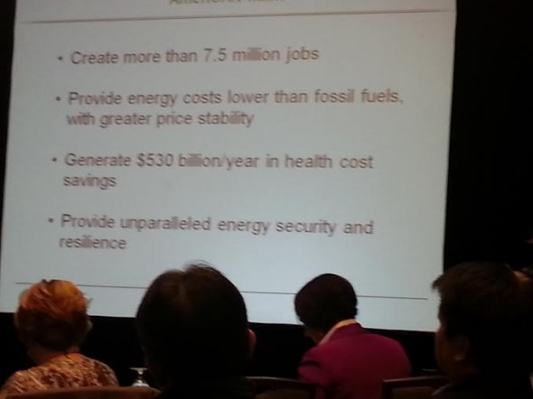 Slide showing some of the benefits of the clean energy plan: AmeriCAN