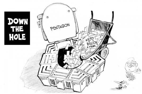 Down the Hole, an OtherWords cartoon by Khalil Bendib