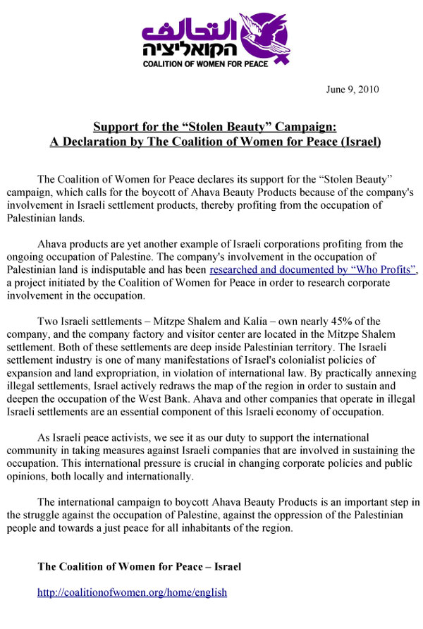 The Coalition Of Women For Peace Israel Letter Of Support Stolen
