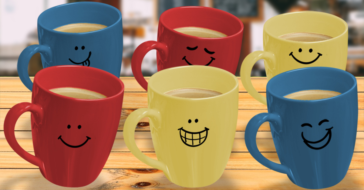 Coffee Party USA - Our Partners - Photo illustration with smiling coffee mugs.