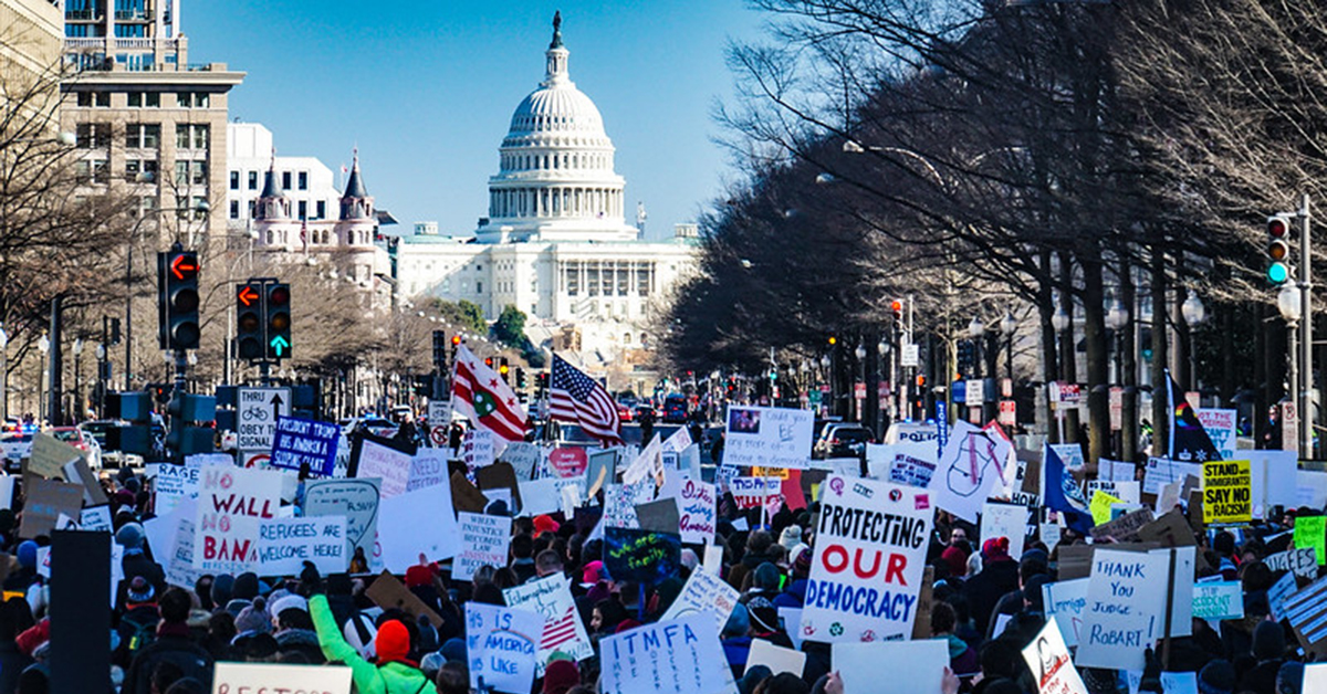 Photo of rally on Capitol Hill. Restore our democracy - Yes on HR-1 and HR-4.