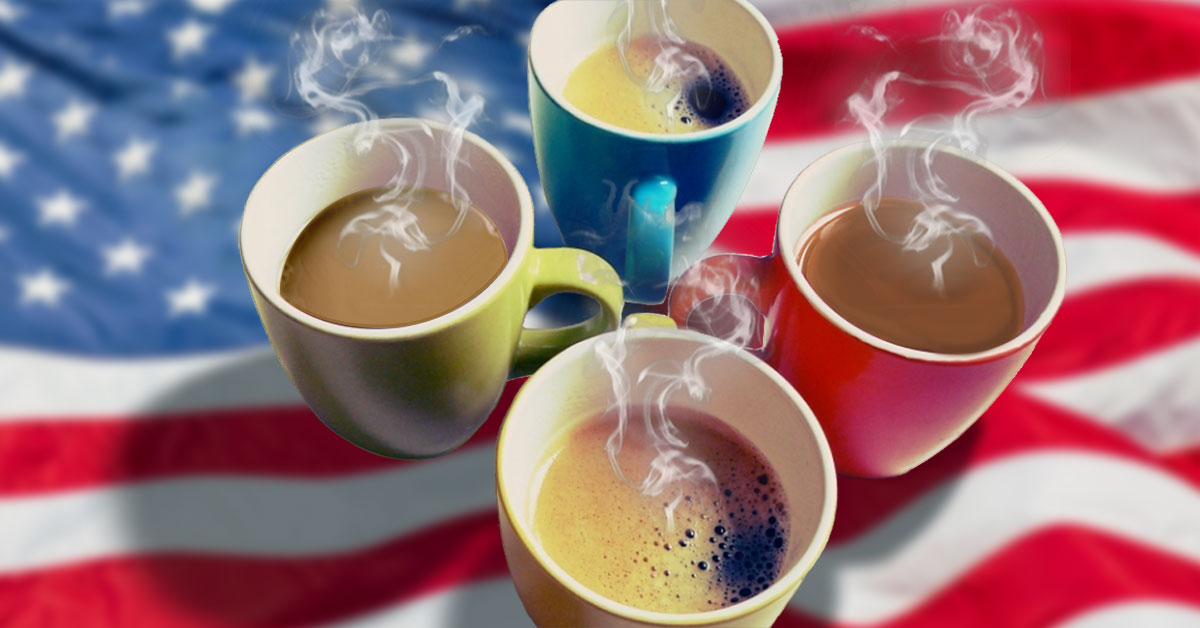 Coffee Party USA - E-Newsletter Signup - photo with four steaming coffee cups with an American flag in the background.