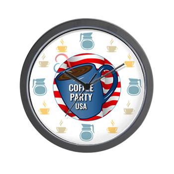 Coffee Party USA Wall Clock | Coffee with Friends | Merchandise (via Cafe Press)