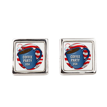 Coffee Party USA Square Cufflinks | Coffee with Friends | Merchandise (via Cafe Press)