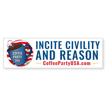 Coffee Party USA Bumper Sticker | Coffee with Friends | Member Benefits | Merchandise (Via Cafe Press)