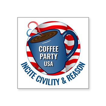 Coffee Party USA Square Sticker | Coffee with Friends | Member Benefits