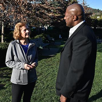 Debra Stutsman and Brian Colbert speaking in Imagination Park, San Anselmo
