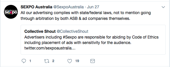 Sexpo denies advertising existed